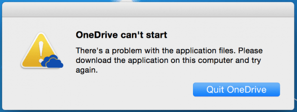 OneDrive can't start