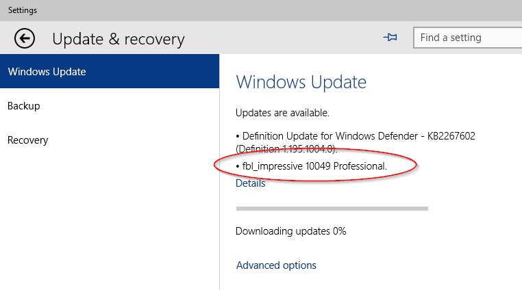 Windows 10 TP - update