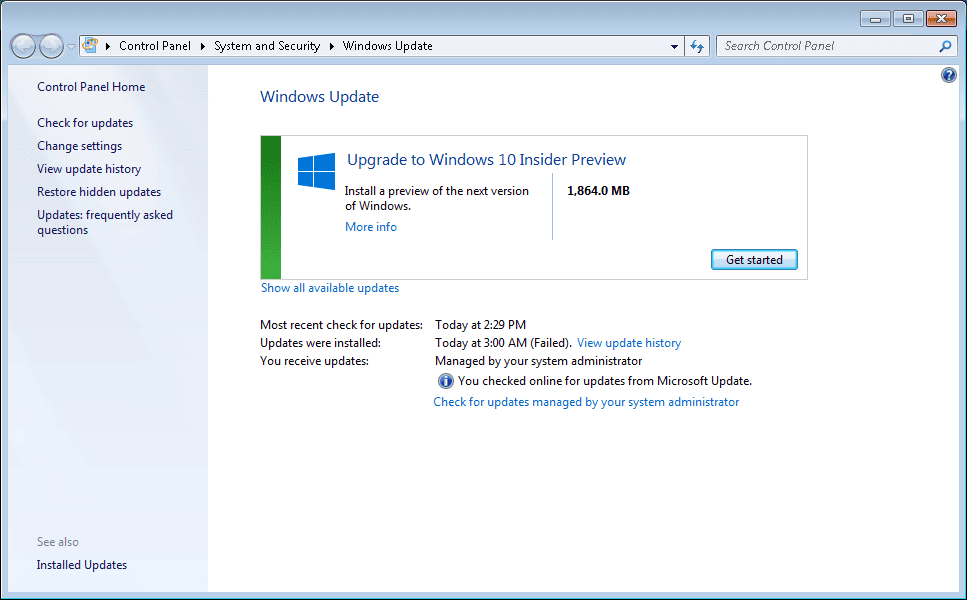Windows 10 Technical Preview through Windows update