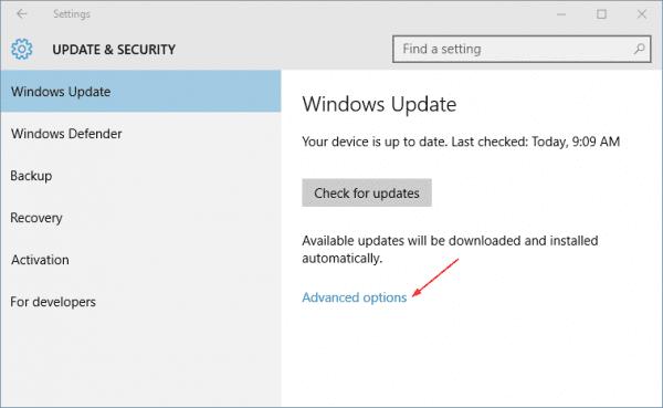 Settings - Update Security