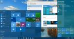 Desktop with start menu taskbar action center in color