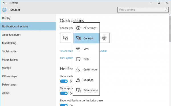 Quick Actions button options