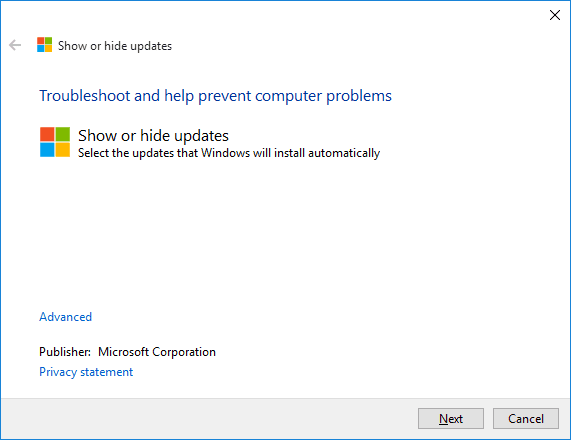 Show or hide updates - 1