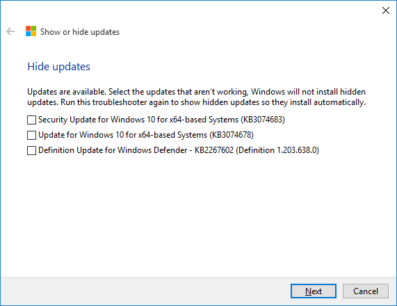 Show or hide updates - 3