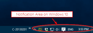 Windows 10 Notification Area