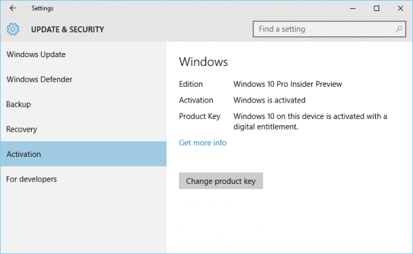 Windows 10 - Settings - Update - Activation