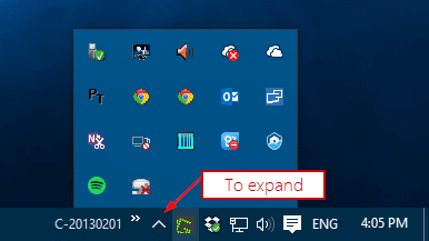 Windows 10 - notification area with hidden area open