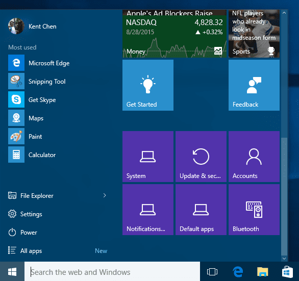 Start menu with pinned settings