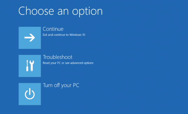 Windows 10 - Advanced Options - from login screen