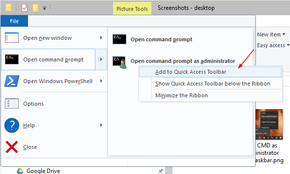 Add open command prompt to Quick Access