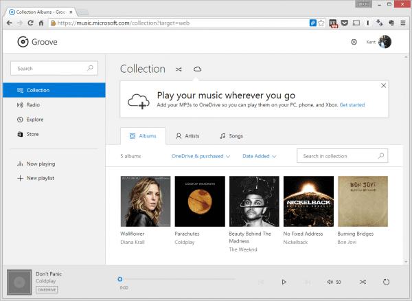 Groove Music web app