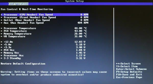 Intel BIOS CPU Fan Speed
