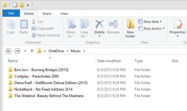 One Drive Music folder