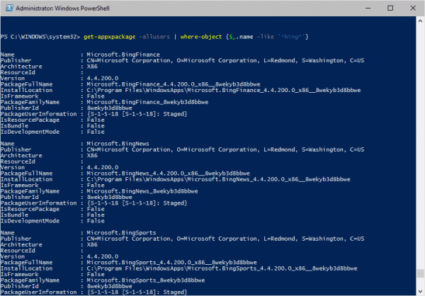 PowerShell - list Bing app packages