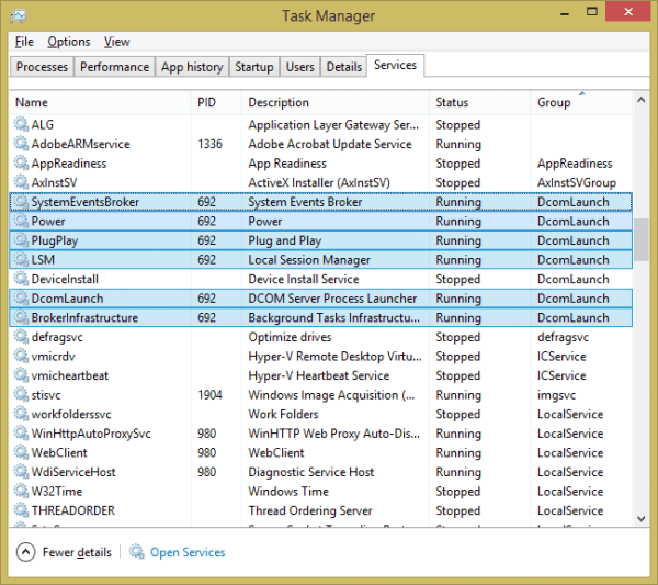 Task Manager - services tab with all related services highlighted