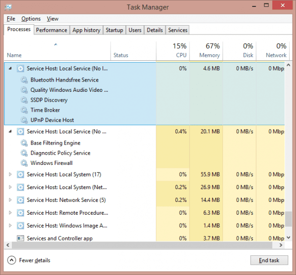 Task Manager - svchost expanded