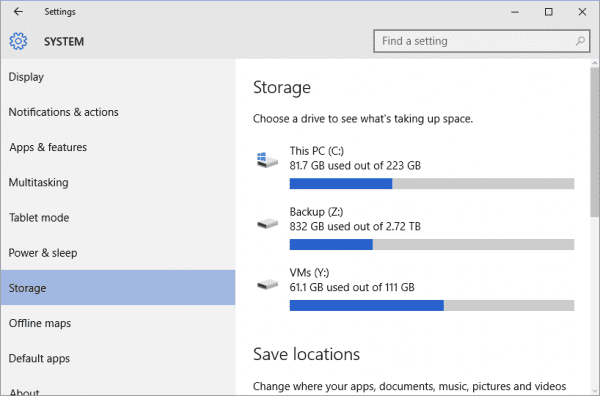 Windows 10 - Settings - Storage