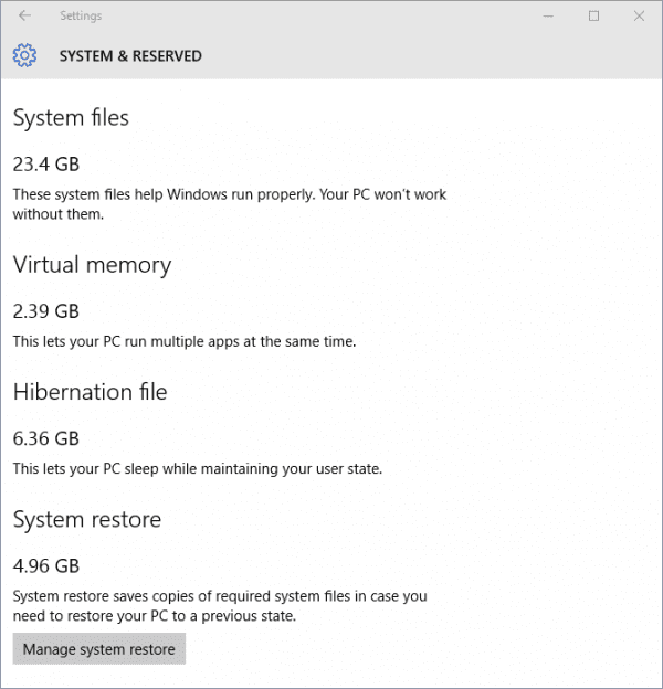Windows 10 - Settings - Storage - Storage usage - System