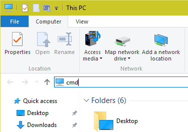 Launch Command Prompt from File Explorer