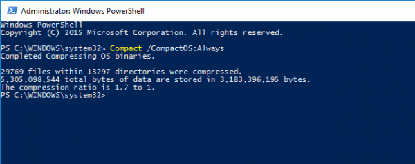 PowerShell - CompactOS Always