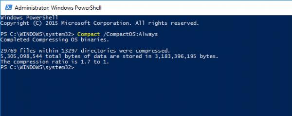 PowerShell - CompactOS Always