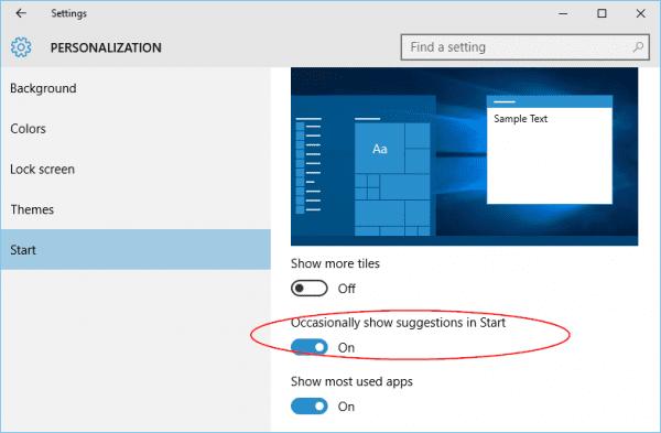 Windows 10 - Settings - Personalization - Start
