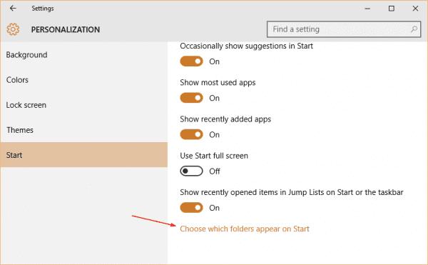 Windows 10 - Settings - Personalization - Start - choose which folder