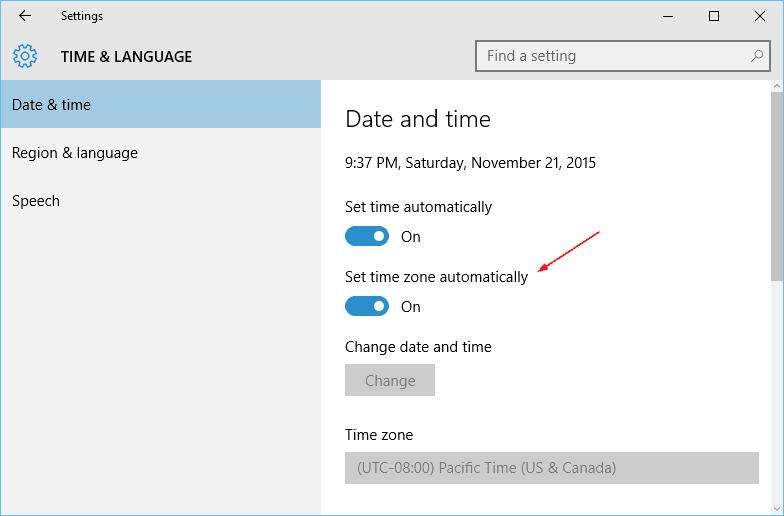 Windows 10 - Settings - Time Launage - set time zone automatically 2