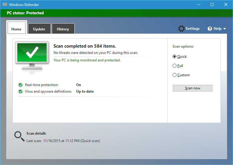Windows 10 - Windows Defender custom scan result.png