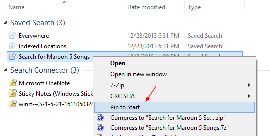 Pin Saved Search to Start