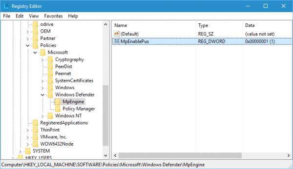 Registry to enable Windows Defender PUA