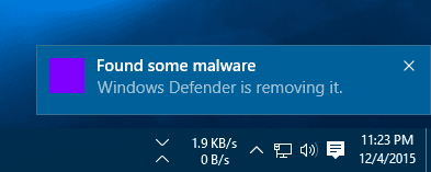 Windows Defender - found some malware notification