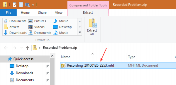 Windows 10 - Steps Recorder - Output