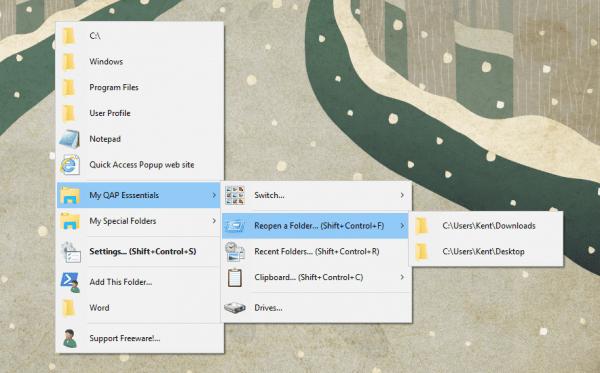 Quick Access Popup - menu - Essentials