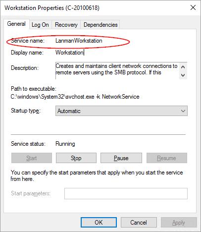 Service name dialog