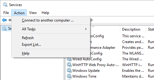 Services - connect to another computer