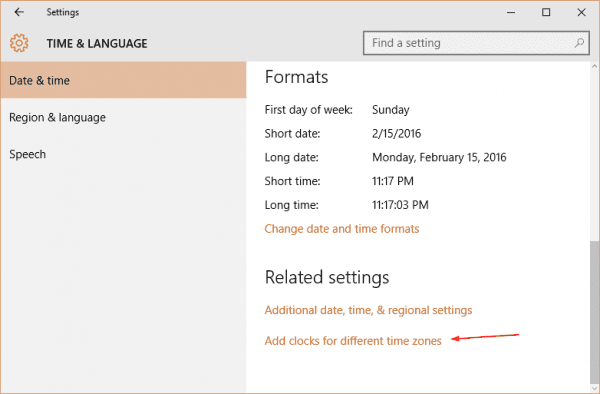 Windows 10 - Settings - Time Language