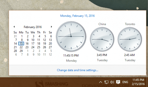 Windows 10 - Windows 7 style clock