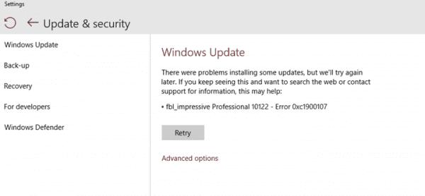 Windows Update error 0xc1900107
