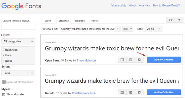 Google Font - font list page