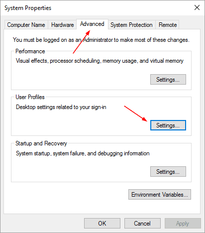 System Properties - Advanced tab