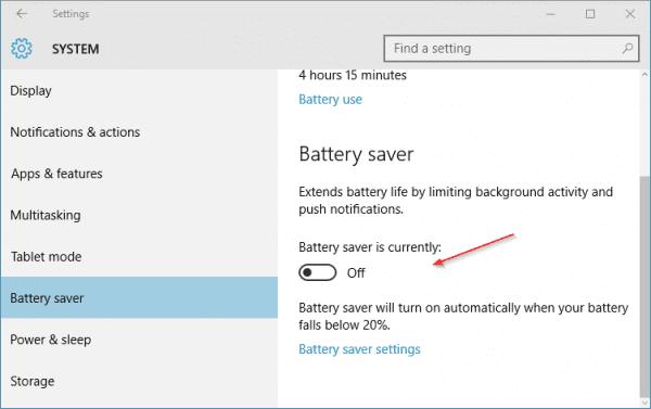 Windows 10 - Settings - System - Battery saver - 2
