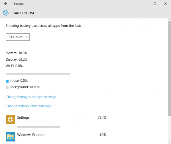 Windows 10 - Settings - System - Battery saver - battery use