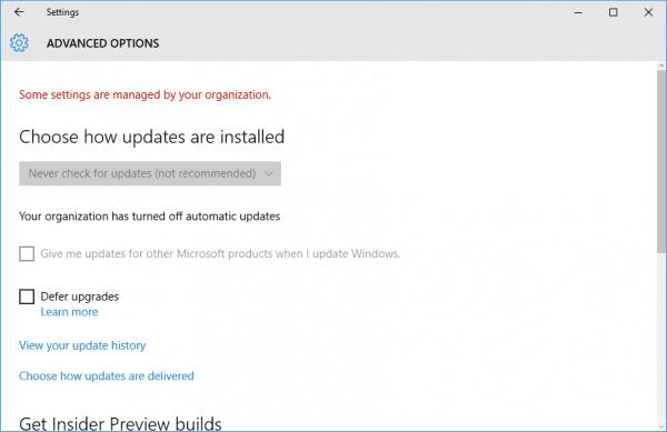 Windows 10 - update disabled