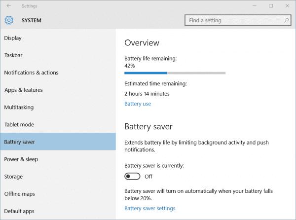 Settings - Battery Saver