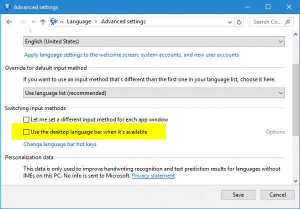 Control Panel - Language - Advanced Settings