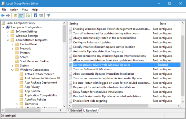 Group Policy - do not include drivers in windows updates