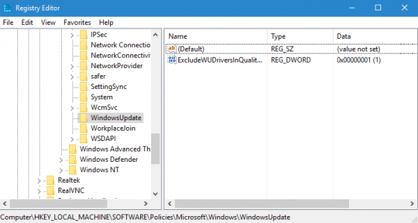Registry Editor - exclude drivers in windows udpates