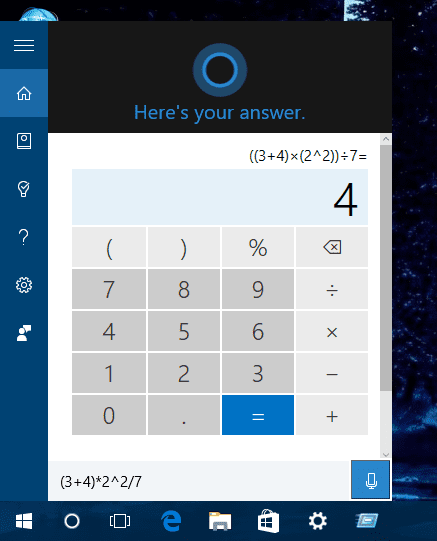 Windows 10 - cortana - full calculator
