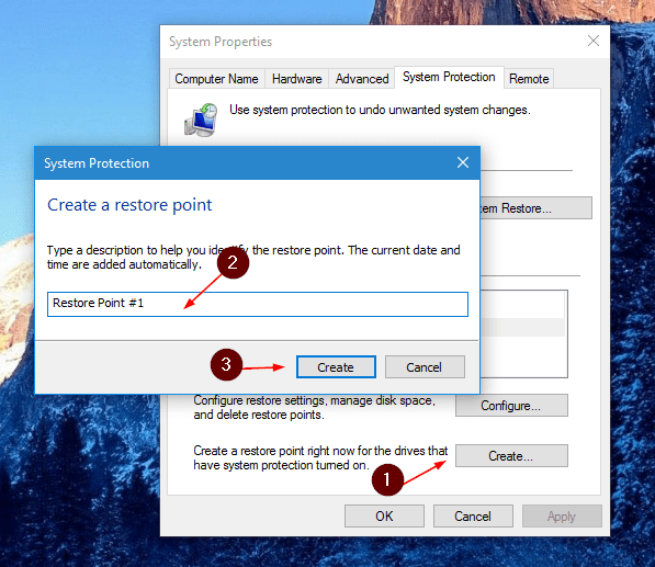 Windows 10 - create a system restore point